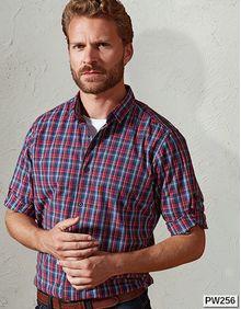 Sidehill Check Mens Long Sleeve Cotton Shirt Premier Workwear PR256