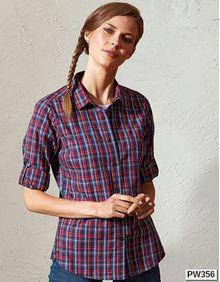 Sidehill Check Womens Long Sleeve Cotton Shirt Premier Workwear PR356