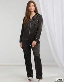 Ladies Satin Long Pyjamas Towel City TC055