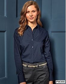Ladies Poplin Long Sleeve Shirt Premier Workwear PR300