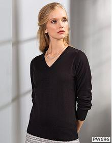 Ladies V-Neck Knitted Sweater Premier Workwear PR696